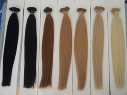 "Wholesale Human Sticks - 100g 18"" 20"" 22"" 24"" Keratin Stick I Tip Human Hair Extensions INDIAN REMY 20 colors in stock Fast shipping"