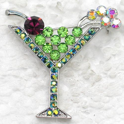 12pcs/lot Wholesale Colorful Crystal Rhinestone Martini Glass Bridal Pin Brooch Wedding party prom brooches Fashion jewelry gift C269