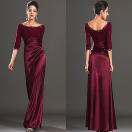 Wholesale Trend Evening Dress - 2016 new trend burgundy bateau half sleeves beading lace elegant evening dress prom dress party gown