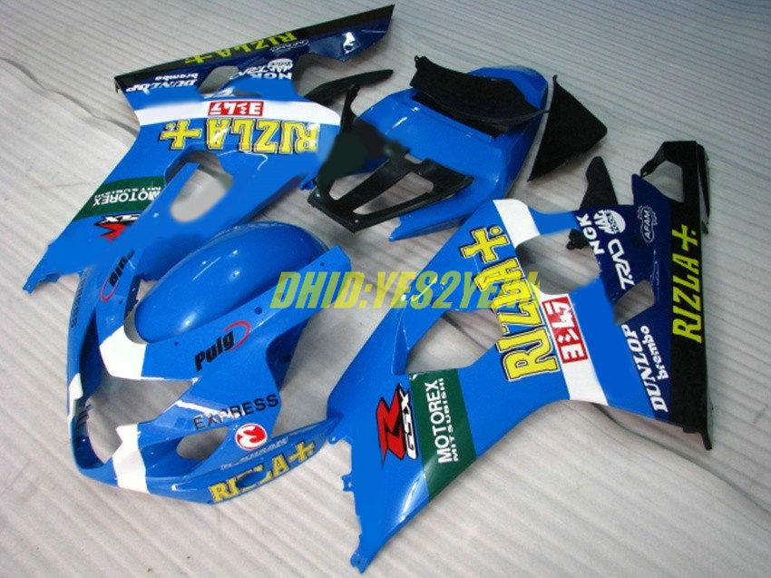 Rizla Blue Fairing Body Kit voor Suzuki GSXR600 750 GSX-R600 2004 2005 Carrosserie GSXR 600 GSXR750 K4 04 05 Valvormen Set + Geschenken