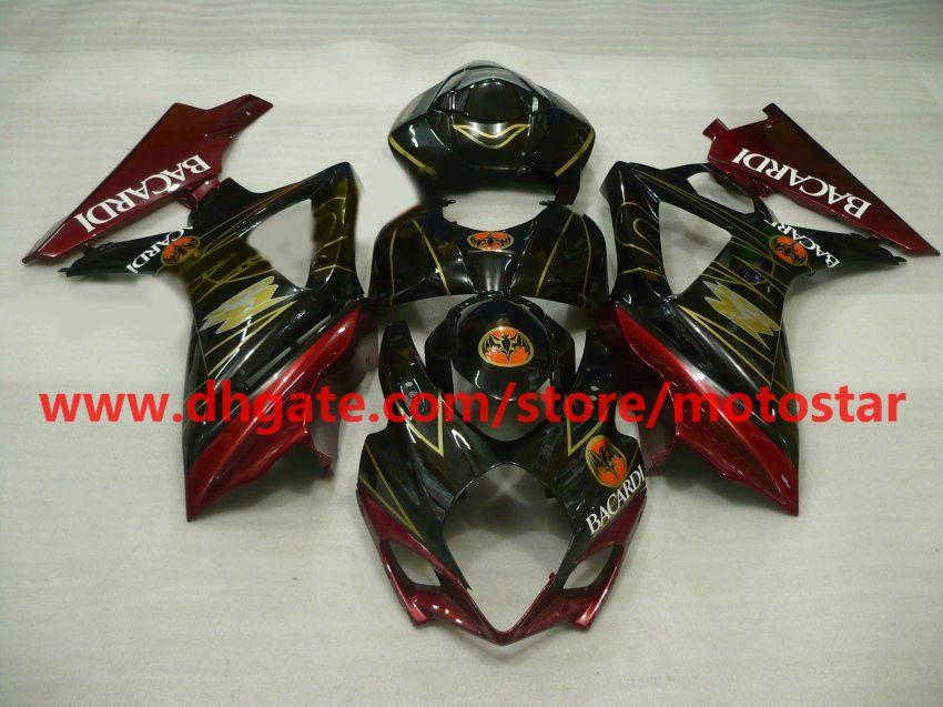 BACARDI fairings kit for SUZUKI GSX-R1000 2007 2008 version GSXR1000 K7 07 08 GSXR 1000 red gold
