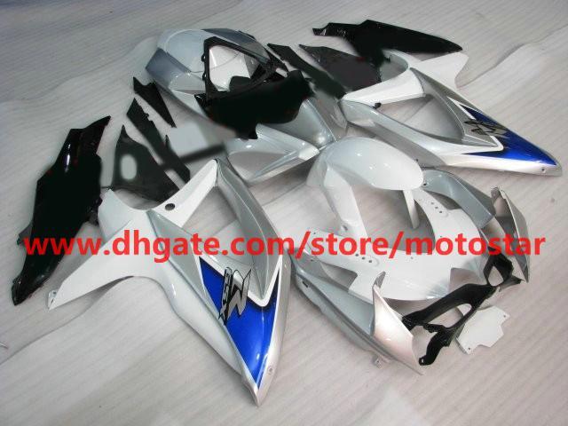 White Blue Silver fairing kits for SUZUKI GSXR 750 600 K8 2008 2009 2010 GSX-R600 GSXR750 08-10 K8P