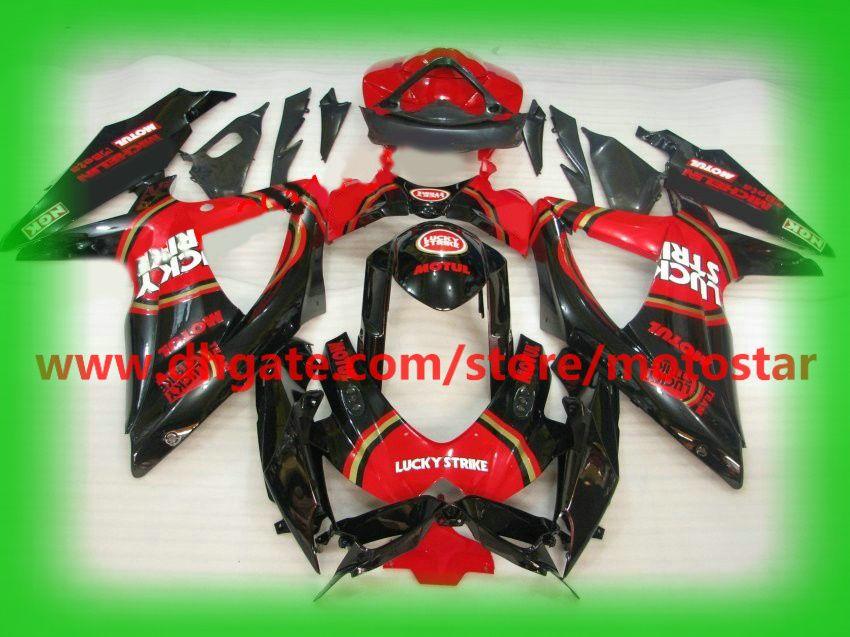 Black red LUCKY STRIKE fairing fit for SUZUKI GSXR 750 600 K8 2008 2009  2010 GSX-R600 GSXR750 08-10