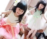 Wholesale Gauze Bow Vest Dress - Wholesale - Girls Embroidered Lace 6 layer gauze bow vest dress dresses girl new sets