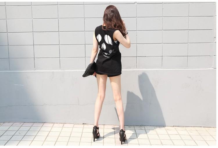 grossist-skalle skelett oregelbunden punk stil tillbaka ihåliga ut toppar t-shirt gratis frakt kan släppa sh