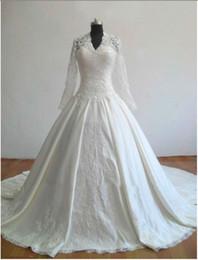Wholesale Samples Neck Beads - Real sample Elegant Kate princess's Wedding Dresses V-Neck Satin Lace Long Sleeves Wedding Gowns