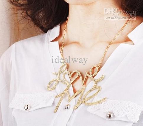 Nieuwe mode gehamerd verzilverd gouden metalen hangletter liefde me hanger ketting