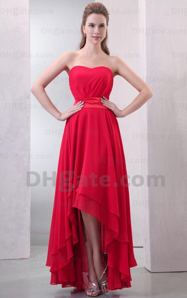 Red Bridesmaid Dress Short Front Long Back Sheath Sweetheart ...