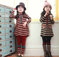 Wholesale Cute Red Black Outfits - Autumn children suit (T-shirt + render pants)Girls Outfits Lovely Clothing Baby skirts kid clothing