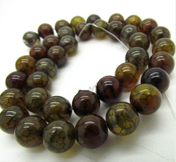 4 mm Naturbrun Dragon Agate Pärlor Naturliga Ädelsten Lösa pärlor DIY \ Smycken Tillbehör