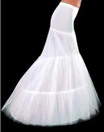 Wholesale Mermaid Crinoline Petticoat - In Stock Free shipping White 2-Hoop Bridal Wedding Petticoat Fishtail Mermaid Wedding Dress Bridal Petticoat Crinoline