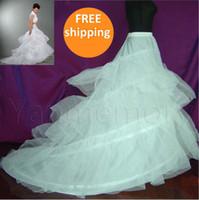 Wholesale Cathedral Petticoats - Free shipping In stock White 2-hoop Bridal Petticoat Wedding Dress Petticoat Crinoline With Chapel Train Petticoat