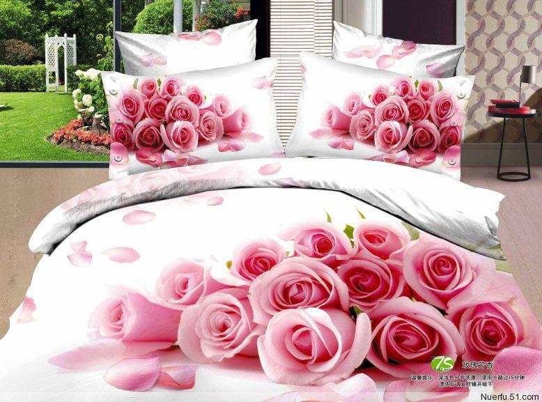 Girls Pink Rose Flower Cotton Bedding Set Bedclothes Bed