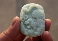 Wholesale Jade Carving Amulet - Natural white, hand-carved, Tiger (amulet) necklace pendants 50x38x8 mm