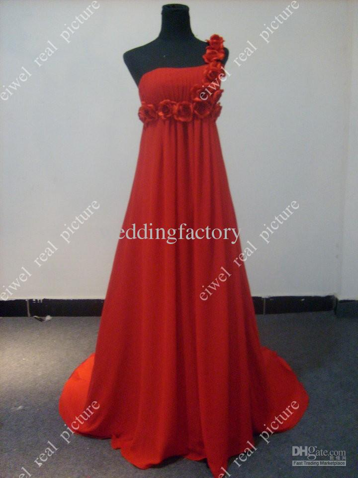 RLD097 Hot Selling One Shoulder Flowers Empire Pleats Chiffon Court Train Long Orange Evening Dress