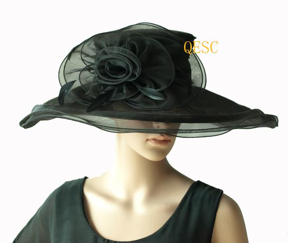 Black organza hat ladies hat /fascinator feathers for Kentucky Derby/wedding/church/party