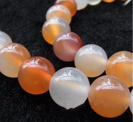 製造のための8 mmの天然の宝石の丸いピンクの瑪瑙ビーズDIYジュエリーネックレスブレスレット