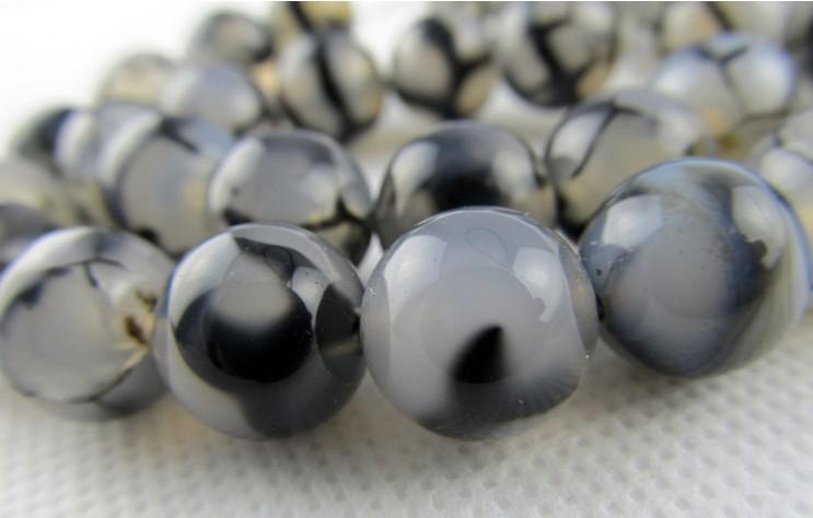 8mm svart vit drake agat naturlig ädelsten lösa pärlor diy smycken halsband armband