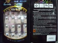 clous en acrylique achat en gros de-Nall Tips nouvelle couverture complète False Nails Acrylique Fournitures pour les Ongles 20boxs / lot False Nails With Glue (24pcs / box)