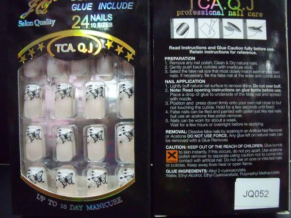 Nall Tips nueva cubierta completa Uñas falsas 20 cajas / lote Suministros de uñas acrílicas Uñas falsas con pegamento (24 piezas / caja) Puntas de uñas pre diseñadas