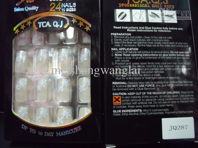 NALL İpuçları Yeni Tam Kapak Yanlış Çivi 20Boxs / Akrilik Tırnak Malzemeleri Yapıştırmalı Yanlış Çiviler 24 adet / kutu Önceden Tasarlanmış Nail İpuçları