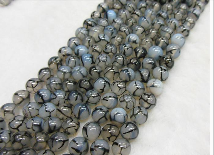 6mm zwart wit draak agaat natuurlijke edelsteen losse kralen diy sieraden ketting armband