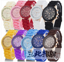 Wholesale Geneva Silicone Rose Gold - 2017 Hot Sale Real No Brand Unisex Stopwatch Quartz-battery Red Blue Fashion Love Geneva Watch Silicone Jelly Rose Gold Shadow Plastic Table