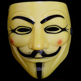 guy fawkes cosplay mask Canada - 50pcs lot Yellow Super Scary V-Vendetta Masks EMS Rubie's Costume Guy Fawkes Cosplay Film Mask Free Shipping