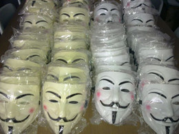 guy fawkes cosplay mask Canada - Whosale 3 Colors Brand New Men's 50pcs EMS Scary V-Vendetta Masks Rubie's Costume Guy Fawkes Cosplay Mask Free Shipping