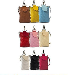 Plain Red Cell Phone Case Canada - 10 pcs Cute lady girl Iphone Cell Phone Rouge Makeup Coin Purse Bag Case Handbag Wallet