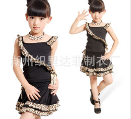 Wholesale Black Latin Dance Skirts - sundress girl children leopard grain Latin dance skirt children's clothes 2 Piece Set 3s l