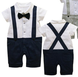 One Piece Outfits Shorts Canada - Baby romper 2016 Gentleman outfits Short sleeve Suspenders trousers One-Piece & Rompers baby onesies