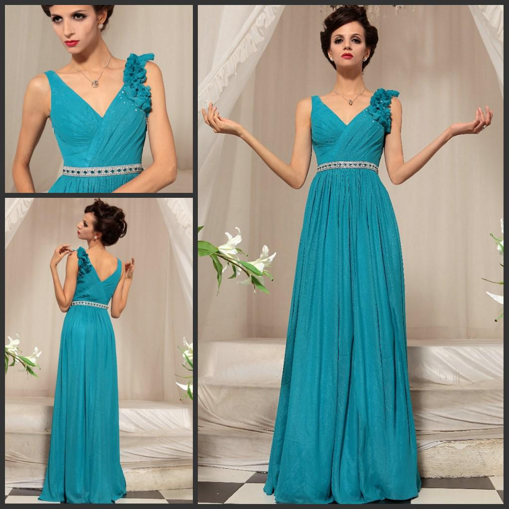 Best Selling V-neck Diamond Belt Chiffon Aqua Prom Dress Evening ...