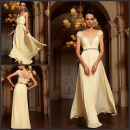 Wholesale Short Diamonds Prom Dresses - Fantastic Chiffon free shippin Beaded V-neck short sleeves diamond beading full length prom dress evening dresses