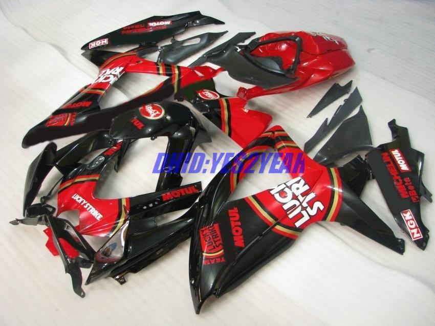 スズキ2008 2009 GSXR600 750 K8ボディワークGSXR600 GSXR750 08 09 Red Black Fairings Set + Gifts SS01