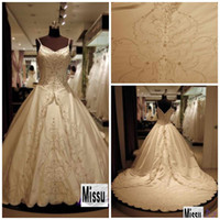 Wholesale Hot sale New Spaghtti Ball Gown Cathedral Train Embroidery Peal Bridal wedding dresses Royal