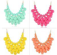 Wholesale Tear Drop Statement Necklace - New Resin 3 Layers Faceted Tear Drop Bib Necklaces Statement Necklaces Candy Color Party Dress Neckl