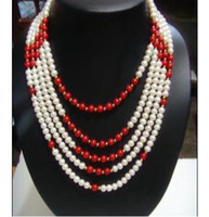 Wholesale Natural Red Coral Jewelry - New Arriver Pearl Jewelry 5Rows White Color Natural Pearl Red Coral Mix Beads Necklace Free Shipping