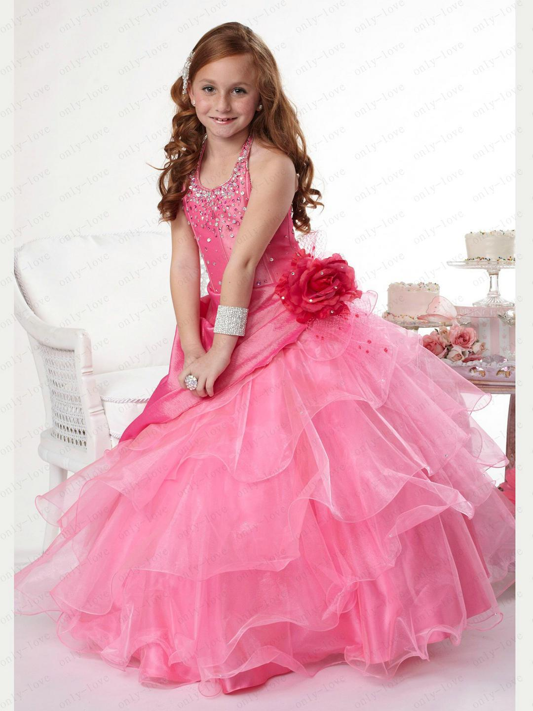 Chic Coral A Line Flower Girl Dresses Halter Beads Rhinestones ...