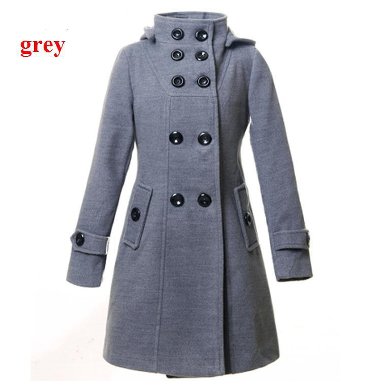 Woman Grey Wool Coats Double Breasted Lady Slim Blend Winter ...