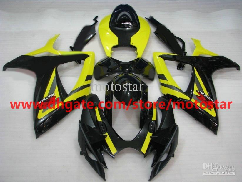 For SUZUKI GSXR 750 600 K6 2006 2007 GSX-R600 GSXR750 06 07 GSX R600 yellow black ABS fairings K6B