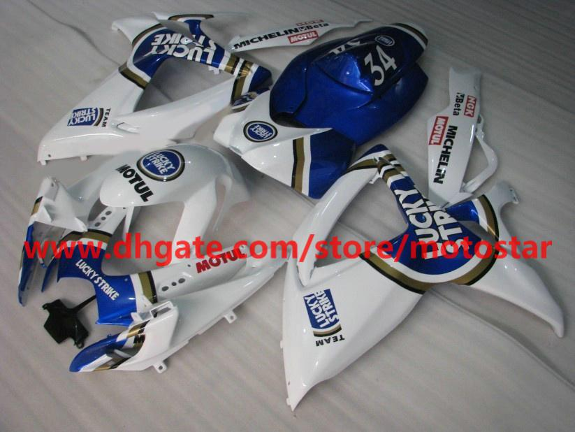 For SUZUKI GSXR 750 600 K6 2006 2007 GSX-R600 GSXR750 06 07 GSX blue lucky strike fairings kit K6C