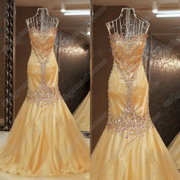 online shopping Fall Strapless Gold Colour Mermaid Crystals Beading Shining Evening Dress Custom Made Pageant Dress EDa056