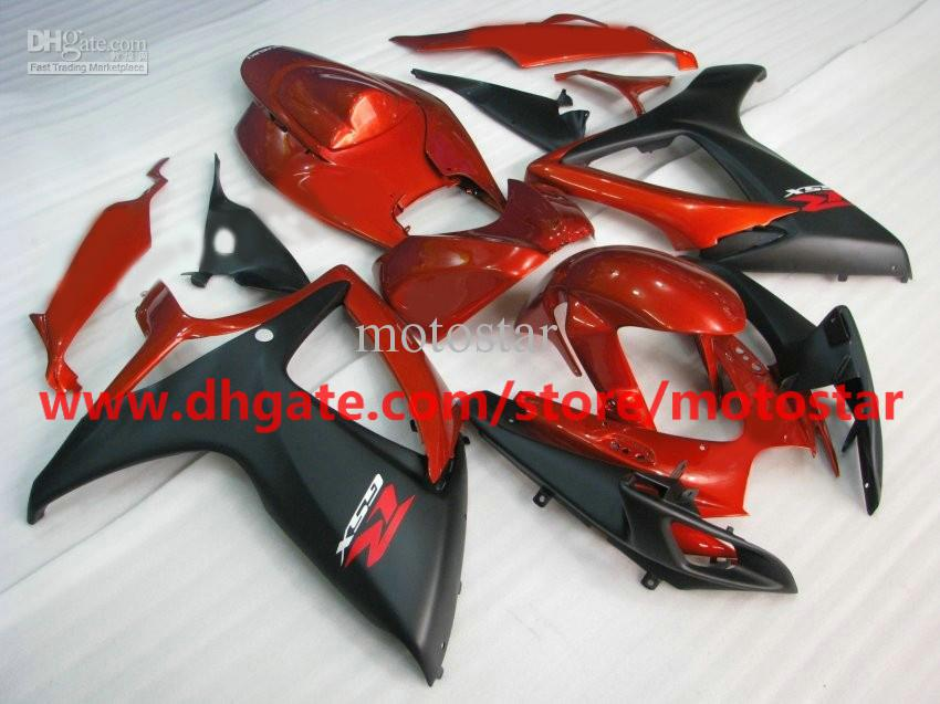 For 2006 2007 SUZUKI GSX-R600 GSXR750 06 07 GSXR 750 600 K6 GSX R600 orange flat black fairing kit