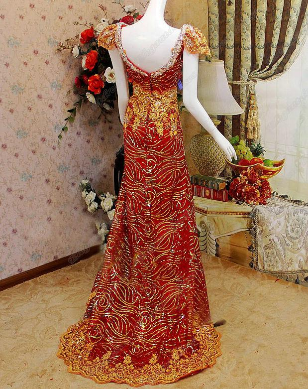 2019 Real Images Bästa Sequins Luxury Crystals Cap Sleeves Beading V-Neck Afton Dress Eda057