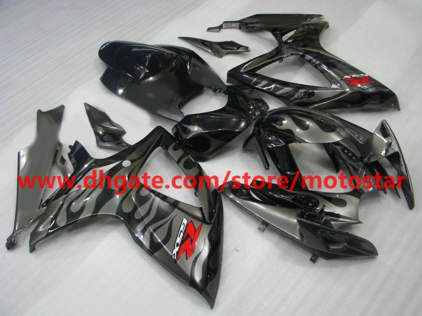 Voor 2006 2007 Suzuki GSX-R600 OEM injectie gieten GSX-R750 06 07 GSXR 600 750 GSXR600 K6 Silver Flames Fairing Kit K6N