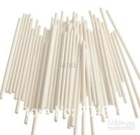 bâtons de papier blanc achat en gros de-Bâton de chocolat blanc de 6 pouces, bâtonnets de sucette en papier, gâteau apparaît bâtons de papier, bâton de biscuit, 3.5 * 150mm