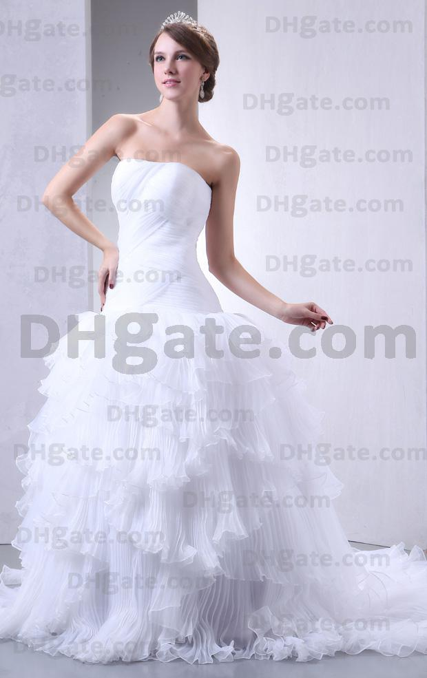 2013 New Fashion Sexy Strapless Sweetheart Ruffles Custom Made Wedding Dress DHgate00104