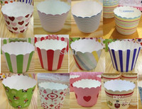 Wholesale Wholesale Cupcake Holder Boxes - Round bucket paper cake cups, MUFFIN CUPCAKE CASES, bake baking cup,cake holder