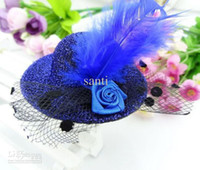 Wholesale Top Hat Cocktail - Mini top hat HAIR clips fascinator CUTE children hair clip Feather Cocktail fashion Party Decoration